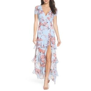 Fame and partners pearl tiered blue floral dress